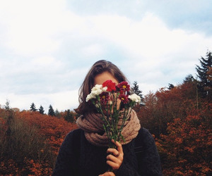 flowers, girl, and autumn image