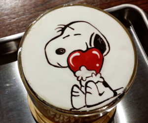 art, coffee, and snoopy image