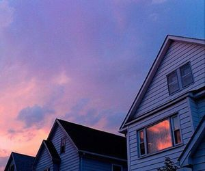 sky, house, and purple image
