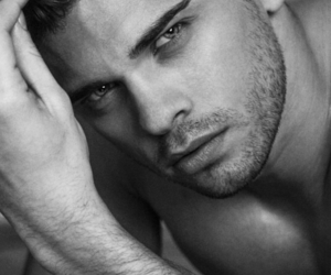 black and white, male, and blue eyes image