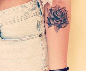 arm, rose, and black tattoo image