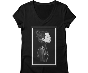 t-shirt, woman portrait drawing, and girl inspiration art image