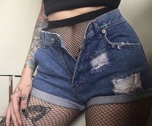 fish nets, shorts, and tumblr image