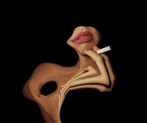 lips, art, and black image