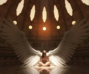 angel, beautiful, and floor image
