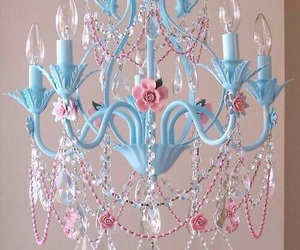 blue, chandelier, and pink image