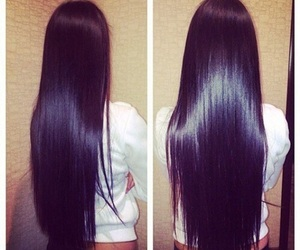 hair, long hair, and black image