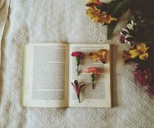 book, flowers, and vintage image