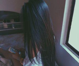 hair, black hair, and long hair image