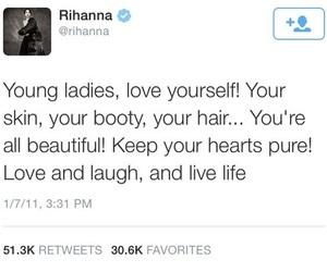 rihanna, quotes, and tweet image