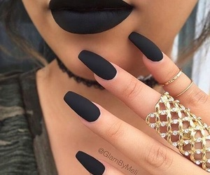 nails, black, and lips image