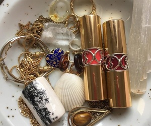 gold, jewelry, and lipstick image