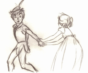 peter pan, wendy, and drawing image