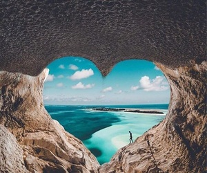 beach, heart, and water image