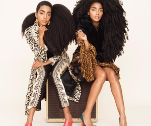 black women, natural hair, and twin sisters image