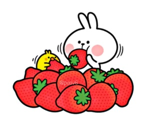 kawaii, rabbit, and strawberry image