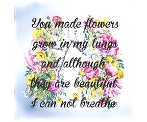 flowers, quotes, and sad image
