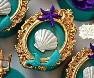 mermaid, Cookies, and gold image