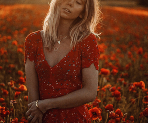 blond hair, fashion, and flowers image
