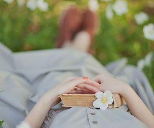 book, girl, and grass image