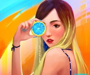 art, lemon, and orange image