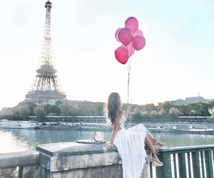 balloons, eiffel tower, and fashion image