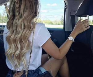 blonde, braids, and haircute image