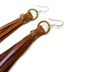 fashion, brown earrings, and wire wrapped earring image