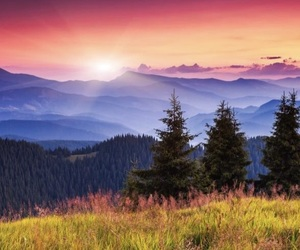 sunset, nature, and mountains image