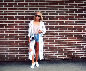 blonde, denim shorts, and fashion image