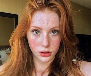 freckles, ginger, and green eyes image
