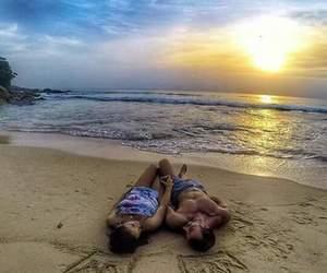 beach, couple, and pareja image