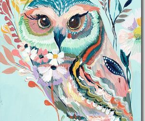 owl, art, and flowers image