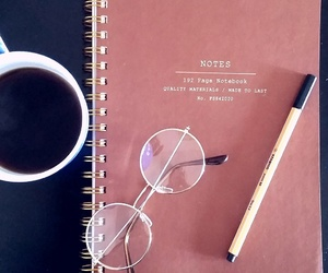 coffee, glasses, and notebook image