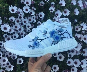 adidas, blue, and flowers image