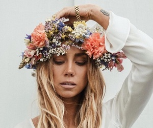 blonde, flowers, and midsummer image