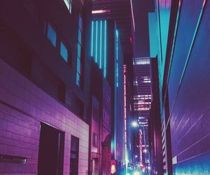blue, buildings, and lights image
