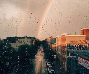 rainbow, rain, and city image