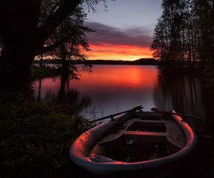 boat, lake, and sunset image
