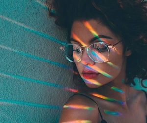 girl, rainbow, and glasses image