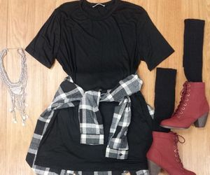 black, booties, and dresses image
