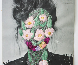 flowers, art, and hair image
