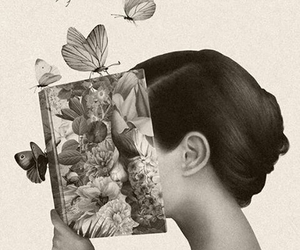 dibujo, libros, and flores image
