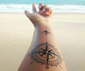 tattoo, travel, and beach image