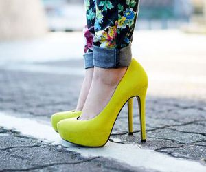 shoes, fashion, and yellow image