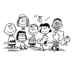 beagle, black and white, and charlie brown image