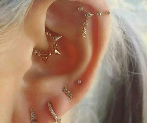 fashion, earrings, and piercing image