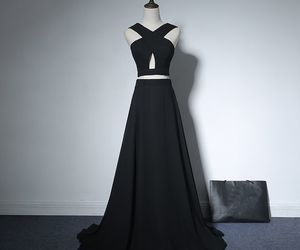 black, evening dresses, and girls image