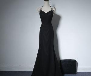 black, evening dresses, and girls image