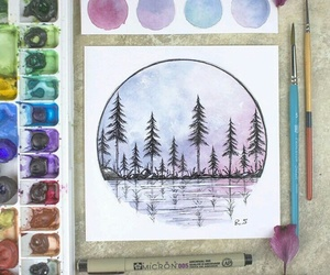 art, sunset, and watercolor image